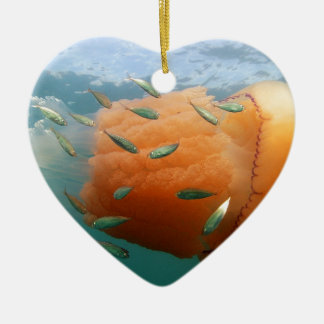 Barrel Jellyfish Swims With Mackerel Ceramic Ornament