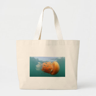 Barrel Jellyfish Swims With Mackerel Large Tote Bag