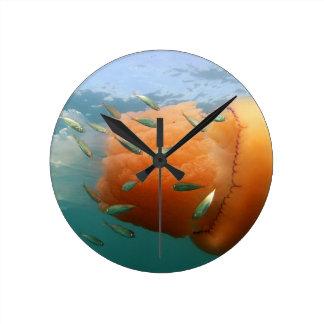 Barrel Jellyfish Swims With Mackerel Round Clock
