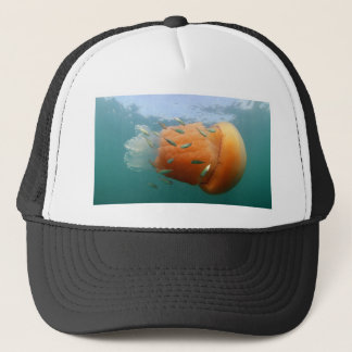 Barrel Jellyfish Swims With Mackerel Trucker Hat