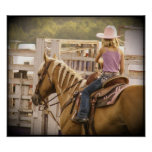 Barrel Race Girl and Horse Print