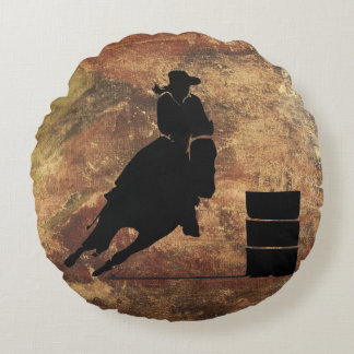 Barrel Racing Girl Silhouette on a Grunge Texture Round Pillow