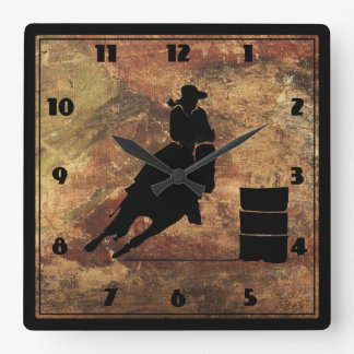 Barrel Racing Girl Silhouette on a Grunge Texture Square Wall Clock