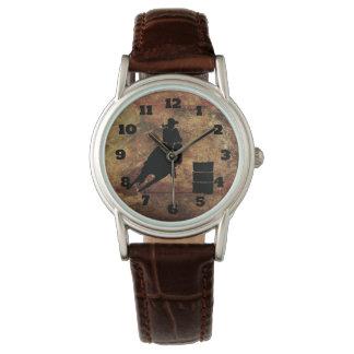 Barrel Racing Girl Silhouette on a Grunge Texture Wrist Watch