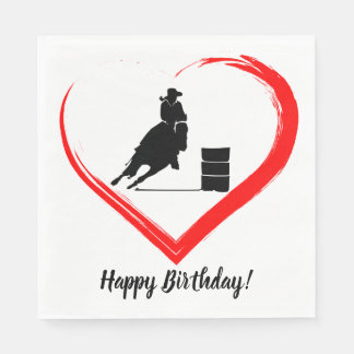 Barrel Racing Horse and Red Heart Happy Birthday Napkin