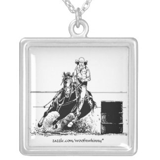 Barrel Racing Horse Silver Plated Necklace