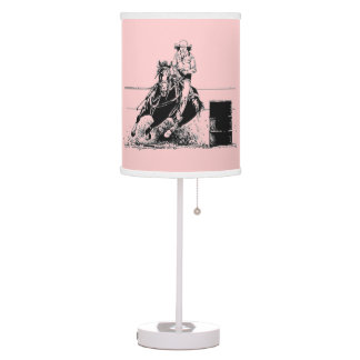 Barrel Racing Horse with Cowgirl Table Lamps