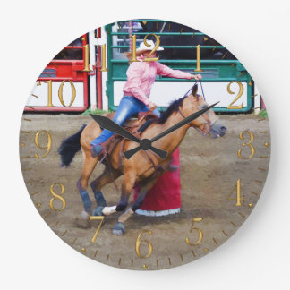 Barrel-Racing Rodeo Cowgirl Design I Large Clock