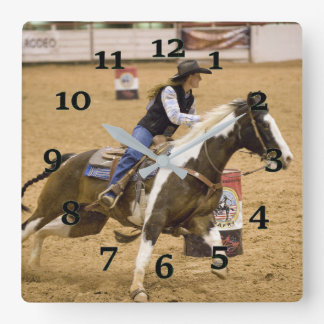Barrel Racing Square Wall Clock