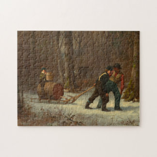 Barrel Sled in a Snowy Forest by E. Johnson Jigsaw Puzzle
