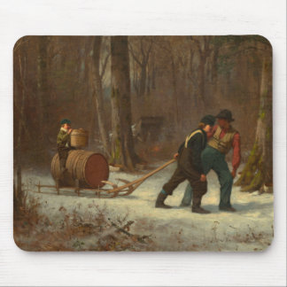 Barrel Sled in a Snowy Forest by E. Johnson Mouse Pad