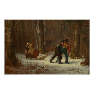 Barrel Sled in a Snowy Forest by E. Johnson Poster