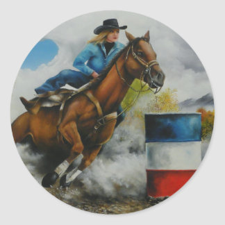 Barrell Racer Painting on Customizable Products Classic Round Sticker