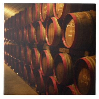 Barrels of Tokaj wine stacked in the Disznoko Tile