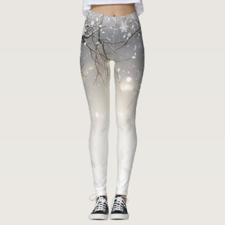 Barren Trees & Snowflakes Winter Holiday Leggings