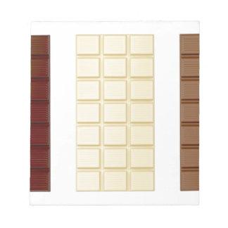 Barres de chocolat blocs notes