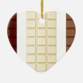 Barres de chocolat ornement cœur en céramique