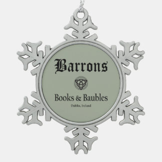 Barrons Books and Baubles Grey Snowflake Snowflake Pewter Christmas Ornament