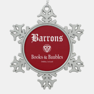 Barrons Books and Baubles Red Snowflake Ornament