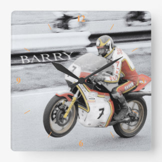 Barry Sheene 2, the hand tinted version Square Wall Clock