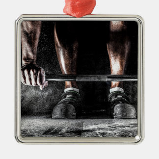 Bars and Chalk - Weightlifting Print Silver-Colored Square Ornament