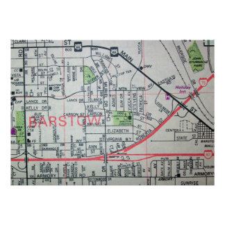 Barstow, CA Vintage Map Poster