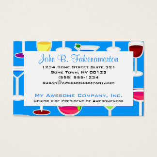 Bartender / Alcoholic Drinks Theme - Blue Business Card