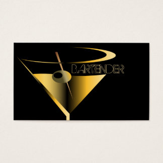 Bartender Business Cards Gold Martini Cocktail