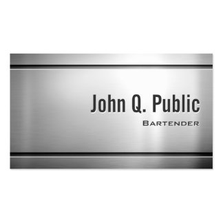 Bartender - Cool Stainless Steel Metal Pack Of Standard Business Cards