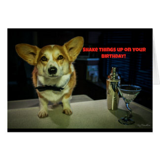 Bartender corgi birthday card