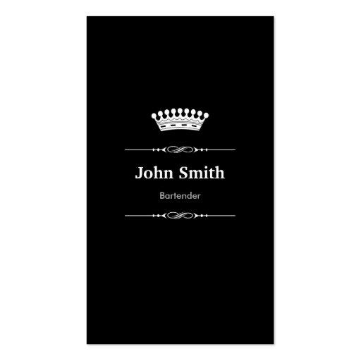 Bartender Elegant Royal Black White Business Card Templates