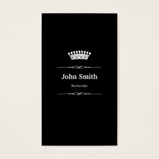 Bartender Elegant Royal Black White Business Card