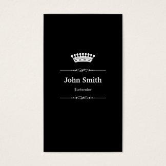 Bartender Elegant Royal Black White Business Card