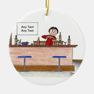 Bartender - Female Ceramic Ornament