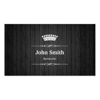 Bartender Royal Black Wood Grain Business Card