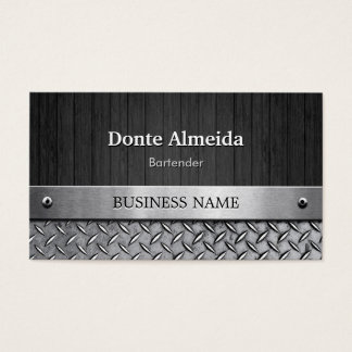Bartender - Wood and Metal Look Business Card