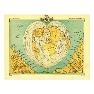 Bartholomew Heart Shaped Post Card World Map