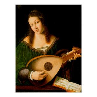 Bartolomeo Veneto Lady Playing Lute Portrait Art Perfect Poster