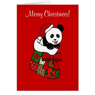 Bas de bande dessinée de panda de Noël Carte De Vœux
