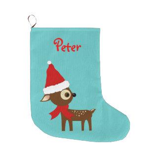 Bas de Noël personnalisé par nom mignon de renne Grande Chaussette De Noël