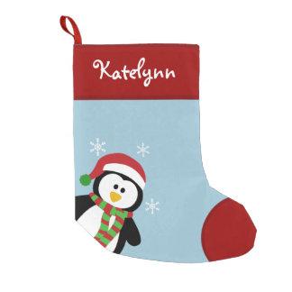 Bas de Noël personnalisé par pingouin mignon Petite Chaussette De Noël