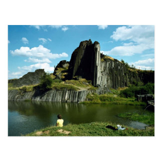 Basalt rock formation, Devil's Wall, Czech Republi Postcard