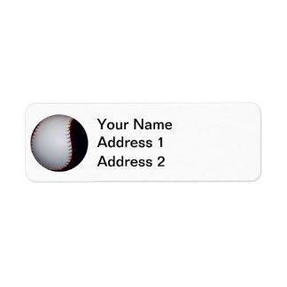 Base-ball/base-ball noirs et blancs étiquette d'adresse retour