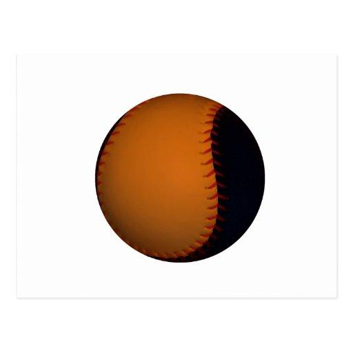 Base-ball/base-ball oranges et noirs carte postale