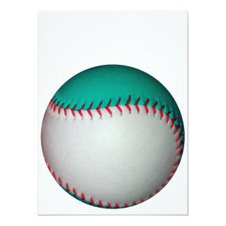 Base-ball blanc et turquoise/base-ball carton d'invitation  13,97 cm x 19,05 cm