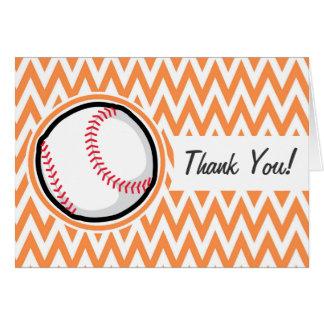Base-ball Chevron orange et blanc Carte De Vœux