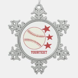 Base-ball de PERSONNALISER -- Personnalisez le Ornement Flocon De Neige Pewter