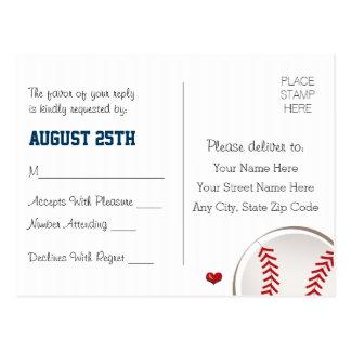 Base-ball décoré d'un monogramme épousant la carte carte postale