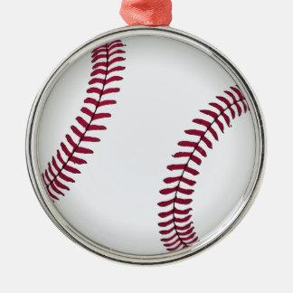 Base-ball fait sur commande ornement rond argenté