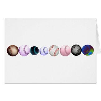 Base-ball multiples dans différents couleurs et st carte de vœux